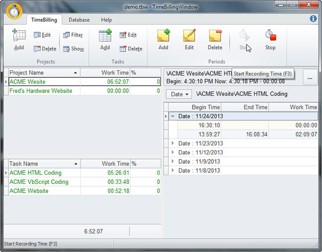 TimeBillingWindow - Time Billing Software for tracking and billing client time.
